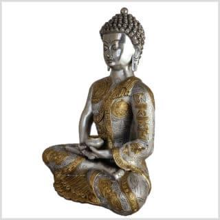 Erleuchteter Buddha Messing Silber 5,3kg Seite links