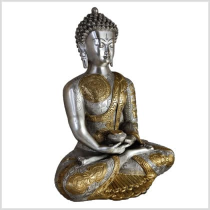 Erleuchteter Buddha Messing Silber 5,3kg Seite rechts