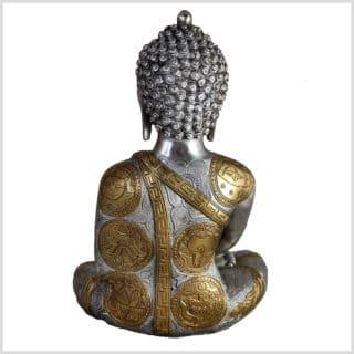 Erleuchteter Buddha Messing Silber 5,3kg hinten
