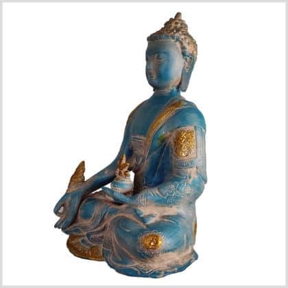 Medizinbuddha blaugold Ashtamangala 25cm Seite links