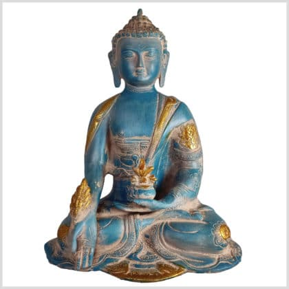 Medizinbuddha blaugold Ashtamangala 25cm vorne