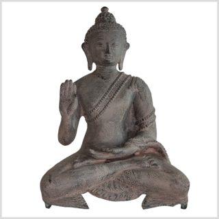 Lehrender Buddha 28cm Messing steingrau Vorne