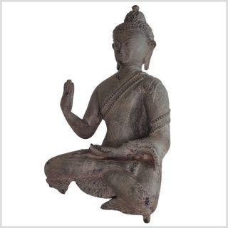 Lehrender Buddha 28cm Messing steingrau Seite links