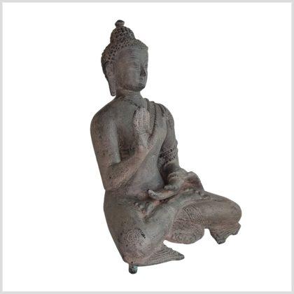 Lehrender Buddha 28cm Messing steingrau Seite Rechts