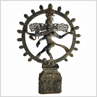 Shiva auf Sockel 60,5cm schwarzantik Vollansicht