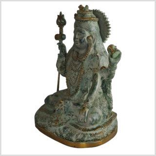 Sitzender Shiva 24cm Messing altantikgrün links