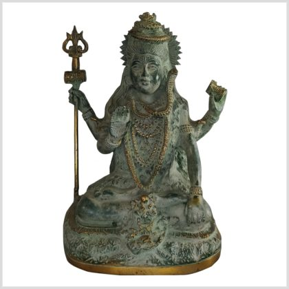 Sitzender Shiva 24cm Messing altantikgrün vorne