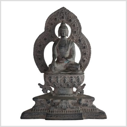 Erdender Buddha Tempelbuddha 24cm steingrau
