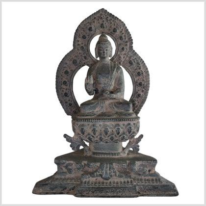 Lehrender Buddha auf Podest Messing steingrau 24cm
