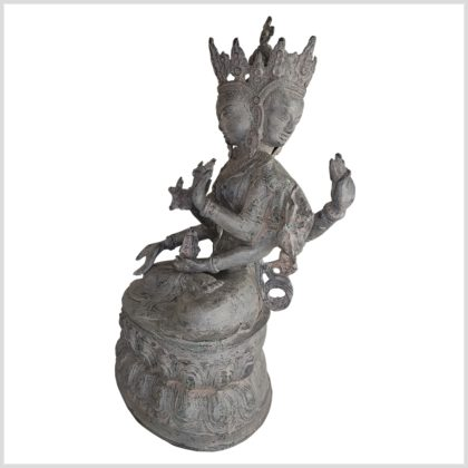 Mutter aller Buddhas 36cm Messing granitgrau Seite links