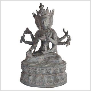 Mutter aller Buddhas 36cm Messing granitgrau Vorderseite