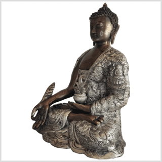 Medizinbuddha Messing verkupfert und versilbert 29cm 6kg Links