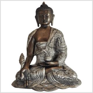 Medizinbuddha Messing verkupfert und versilbert 29cm 6kg Vorne