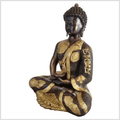 Erleuchteter Budda Messing Kupfer 32cm Ashtamangala Seite links