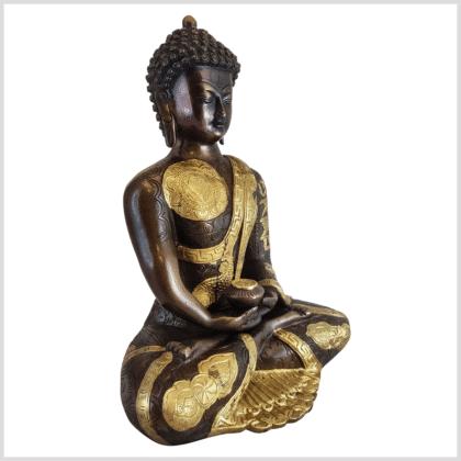 Erleuchteter Budda Messing Kupfer 32cm Ashtamangala Seite rechts