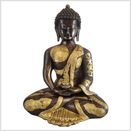 Erleuchteter Budda Messing Kupfer 32cm Ashtamangala Vorne