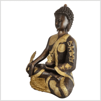 Medizinbuddha Ashtamangala Messing verkupfert 32cm Seite links