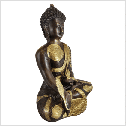 Medizinbuddha Ashtamangala Messing verkupfert 32cm Seite rechts