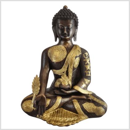 Medizinbuddha Ashtamangala Messing verkupfert 32cm Vorderseite