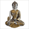 Medizinbuddha Ashtamangala Messing versilbert 32cm Vorderseite