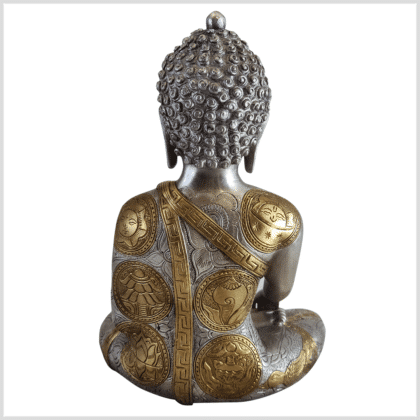 Medizinbuddha Ashtamangala Messing versilbert 32cm hinten