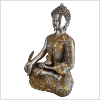 Medizinbuddha Ashtamangala Messing versilbert 32cm links