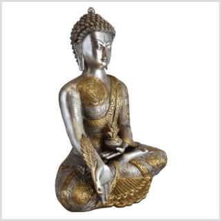 Medizinbuddha Ashtamangala Messing versilbert 32cm rechts