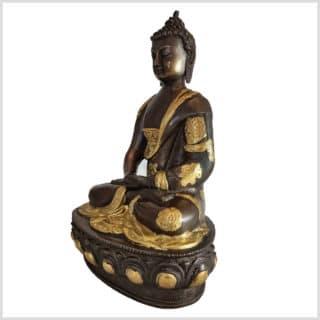 Erleuchteter Meditationsbuddha Messing Kupfer 31cm links