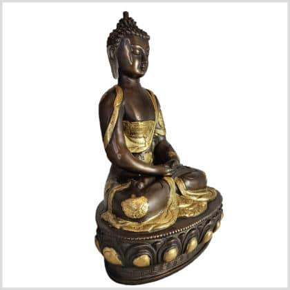 Erleuchteter Meditationsbuddha Messing Kupfer 31cm rechts