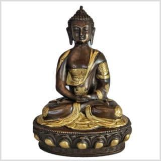 Erleuchteter Meditationsbuddha Messing Kupfer 31cm vorne