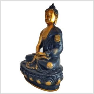 Erleuchteter Buddha Ashtamangala Meditationsbuddha Messing schwarzgold 31cm links