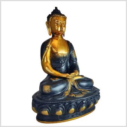 Erleuchteter Buddha Ashtamangala Meditationsbuddha Messing schwarzgold 31cm rechts