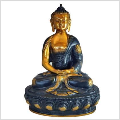 Erleuchteter Buddha Ashtamangala Meditationsbuddha Messing schwarzgold 31cm vorne