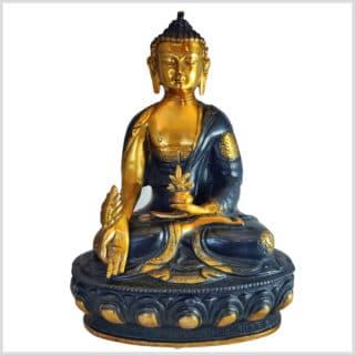 Medizinbuddha Ashtamangala 31cm Schwarzgold vorne