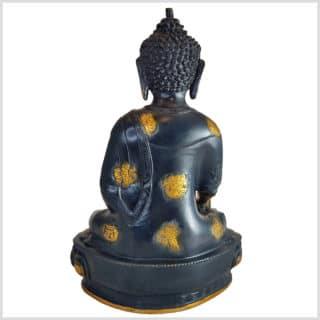 Medizinbuddha Ashtamangala 31cm Schwarzgold Seite hinten