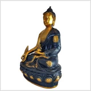 Medizinbuddha Ashtamangala 31cm Schwarzgold Seite links
