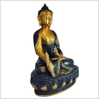 Medizinbuddha Ashtamangala 31cm Schwarzgold Seite rechts