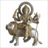 Durga auf Löwe Messing Statue versilbert 30cm Vorderansicht