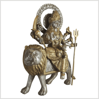 Durga auf Löwe Messing Statue versilbert 30cm Rechts