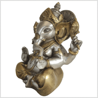 Ganesha Mukesh Messing versilbert 21cm 3kg Seite
