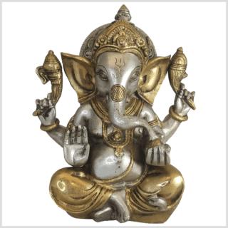 Ganesha Mukesh Messing versilbert 21cm 3kg vorne