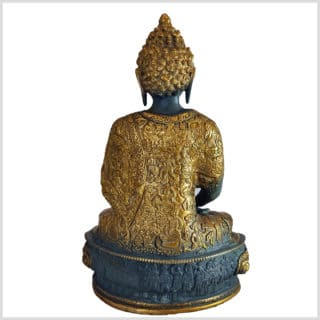 Erleuchteter Buddha Meditationsbuddha Messing blaugrau 33cm hinten