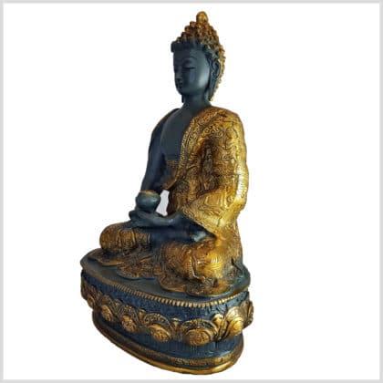 Erleuchteter Buddha Meditationsbuddha Messing blaugrau 33cm links