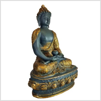 Erleuchteter Buddha Meditationsbuddha Messing blaugrau 33cm rechts