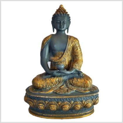 Erleuchteter Buddha Meditationsbuddha Messing blaugrau 33cm vorne