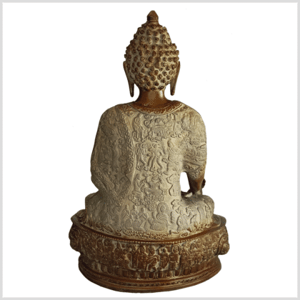 Erleuchteter Buddha Meditationsbuddha Messing Sandbeige 33cm hinten