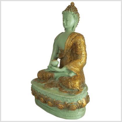 Meditationsbuddha Messing mintgrün 33cm Seite links