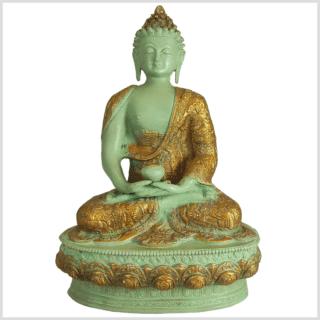Meditationsbuddha Messing mintgrün 33cm vorne