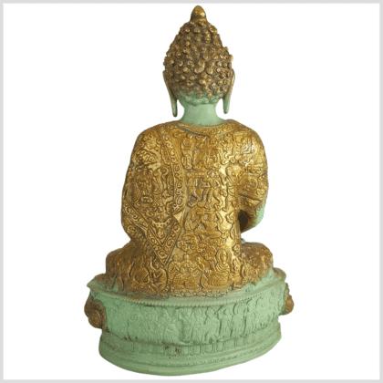 Meditationsbuddha Messing mintgrün 33cm hinten