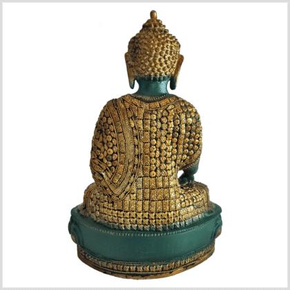 Medizinbuddha Lifebuddha mit Steinen grüngold 34cm hinten